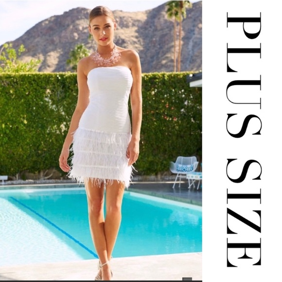 PLUS SIZE STRAPLESS FEATHER DRESS